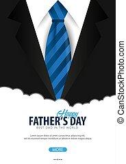 necktie., illustration., augurio, padre, vettore, giorno, scheda, bandiera