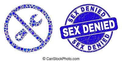 negato, riparazione, blu, afflizione, sigillo, proibito, mosaico