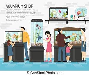negozio, acquario, illustrazione