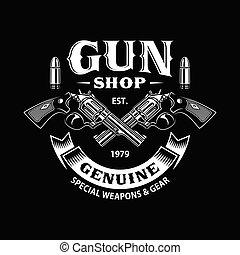 negozio, attraversato, fucile, nero, pistole, emblema
