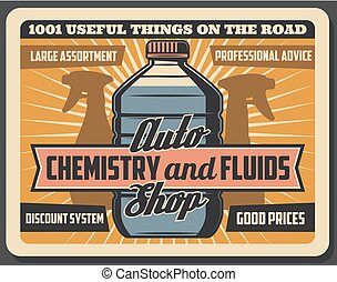 negozio, automobile, chimica, fluidi, auto