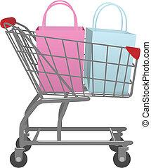 negozio, borse, shopping, grande, carrello, andare, vendita dettaglio