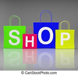 negozio, borse, shopping, mostra, vendita dettaglio, acquisto