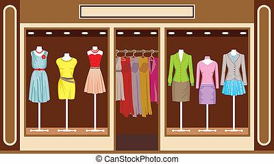 negozio, boutique., abbigliamento, donne