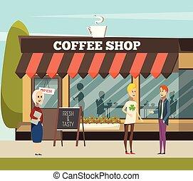 negozio, caffè, illustrazione