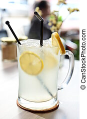 negozio, caffè, succo limone, ghiaccio, vetro, asia, freddo