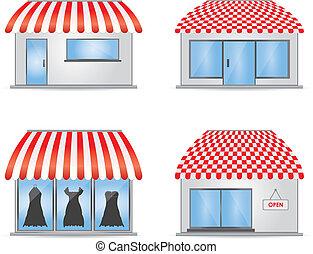 negozio, carino, rosso, tendoni, icone