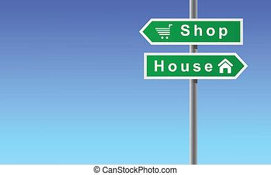 negozio, casa, frecce, fondo, cielo