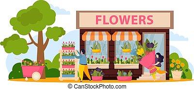 negozio, composizione, fiore, illustrazione