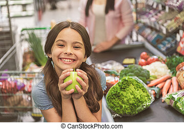 negozio, custodia, frutta, ilare, ragazza sorridente