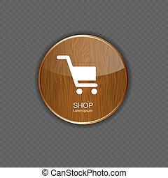 negozio, domanda, legno, icone