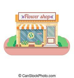 negozio, facade., vettore, fiore, illustrazione