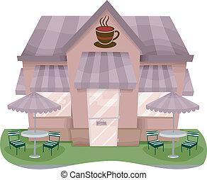 negozio, facciata, caffè