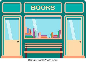 negozio, facciata, vettore, illustrazione