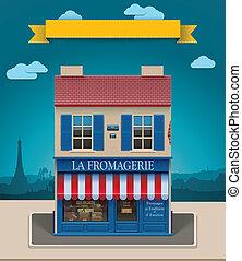 negozio, formaggio, xxl, vettore, icona