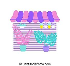 negozio, illustrazione, fiore