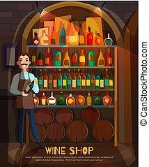 negozio, illustrazione, vino