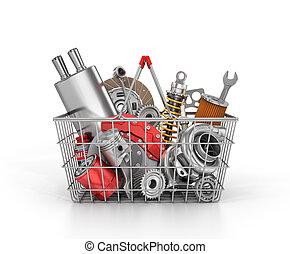 negozio, pieno, shop., automobilistico, parts., illustrazione, parti, auto, cesto, store., 3d