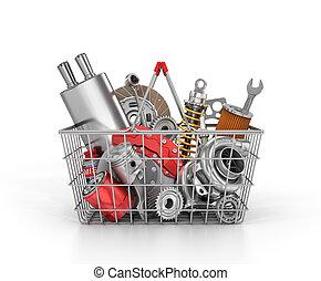negozio, pieno, shop., automobilistico, parts., parti, auto, cesto, store.