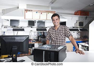 negozio, riparazione computer, proprietario, felice