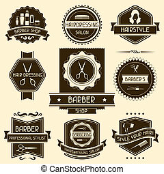 negozio, set, barbiere, retro, style., tesserati magnetici