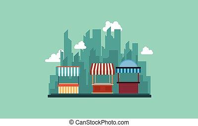 negozio, strada città, fondo, collezione