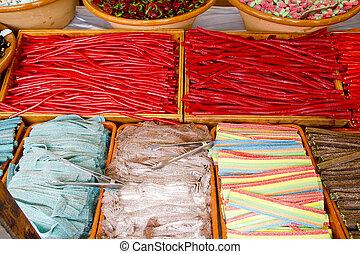 negozio, vario, colorito, gelatina, caramella, dolci