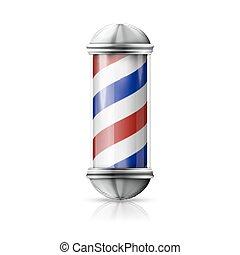 negozio, vecchio, blu, realistico, vendemmia, -, vetro, polo, vettore, barbiere, foggiato, stripes., bianco, argento, rosso