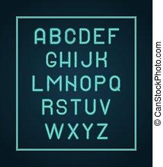 neon, alphabet., vettore, splendore, illuminazione, lettere, font, iscrizione
