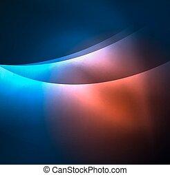 neon, illuminato, onde