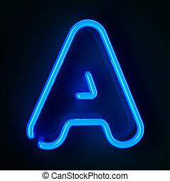 neon, lettera, segno