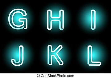 neon, lettere