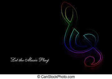 neon, note, musica