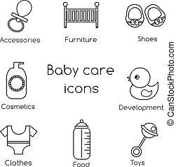 neonato, contorno, icone, bottini, vestiti, icons., simboli, vettore, giocattoli, bambino, altro, cura