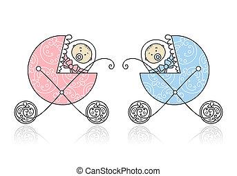 neonato, disegno, carrozzino, bambino, tuo