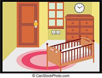 neonato, stanza, camera letto