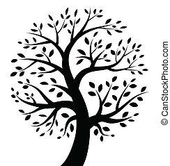 nero, albero, icona