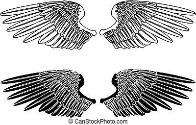 nero, ali, bianco