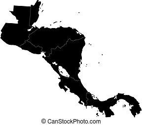 nero, america, centrale, mappa