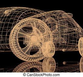 nero, automobile, modello, fondo