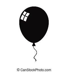 nero, balloon, silhouette, icona