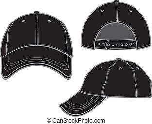 nero, berretto, baseball