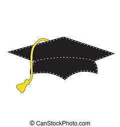 nero, bianco, berretto, cucitura, graduazione