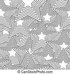 nero, bianco, stella, seamless, retro