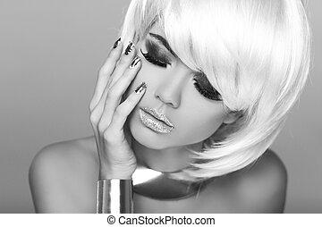 nero, biondo, hair., corto, moda, ritratto, woman., bianco, fringe., photo., bellezza, style., voga, girl.