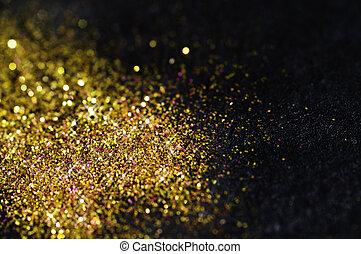 nero, brillare, oro, fondo