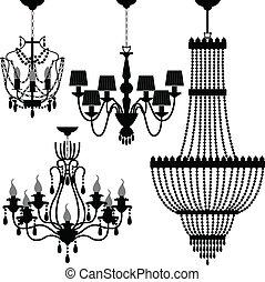nero, candeliere, silhouette