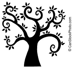 nero, cartone animato, albero, silhouette