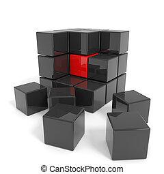 nero, cubo, core., montato, rosso