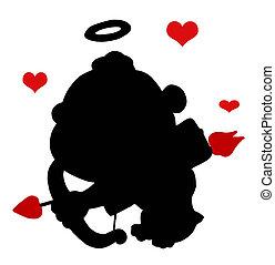 nero, cupido, silhouette